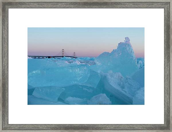 Mackinac Bridge In Ice 2161805 Framed Print