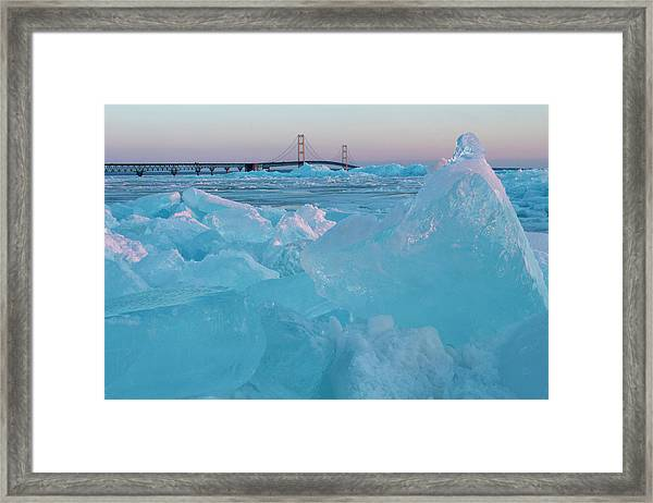 Mackinac Bridge In Ice 2161806 Framed Print