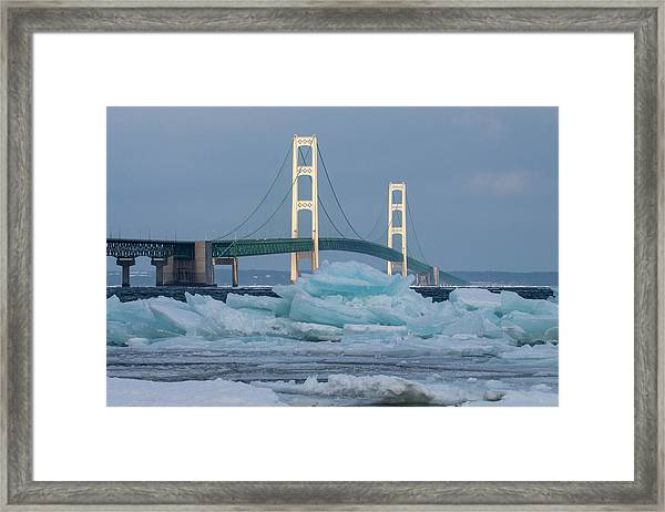 Mackinac Bridge In Ice 2161809 Framed Print