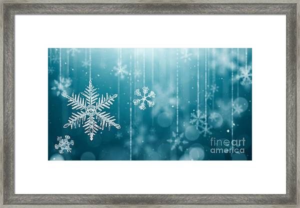 Macro Snowflake And Fallen Defocused Framed Print