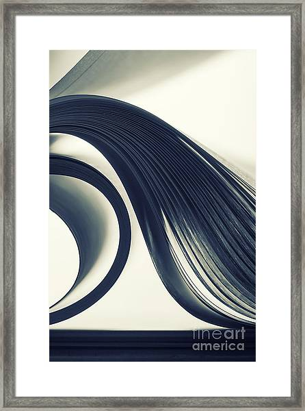 Macro View Of Abstract Paper Curves Framed Print