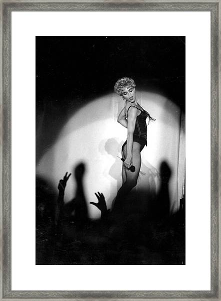 Madonna Concert Performing At Veterans Framed Print