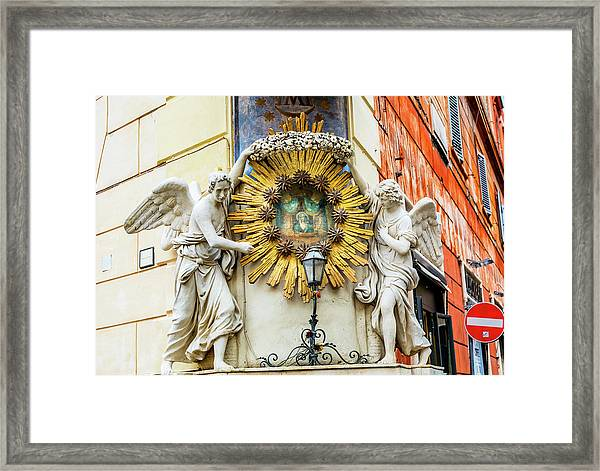 Madonna Del Archetto Angels Statues Framed Print by William Perry