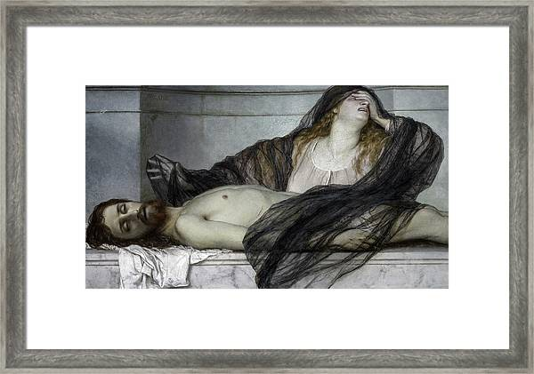 Magdalene Grieving Over The Body Of Christ, 1867 Framed Print