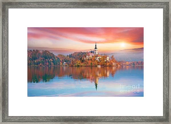 Magical Autumn Landscape With The Framed Print