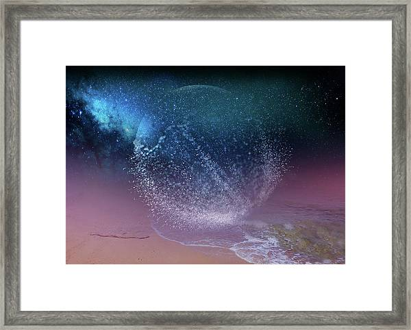 Magical Night Moment By The Seashore In Dreamland 3 Framed Print