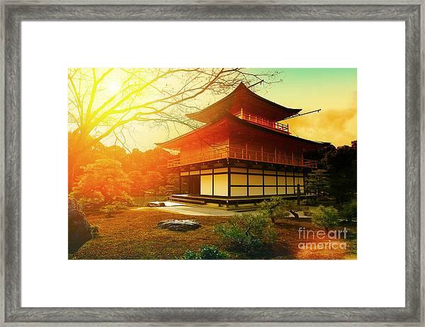 Magical Sunset Over Kinkakuji Temple Framed Print