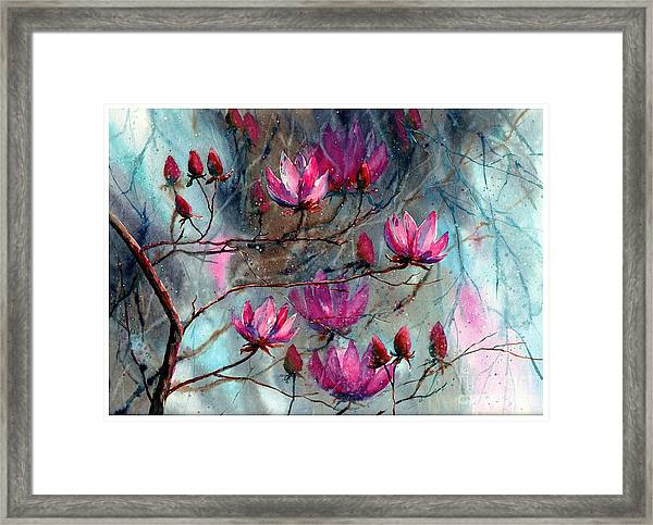 Magnolia At Midnight Framed Print