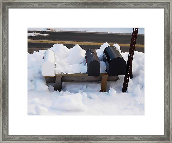 Mailboxes Covered In Snow 1 Framed Print