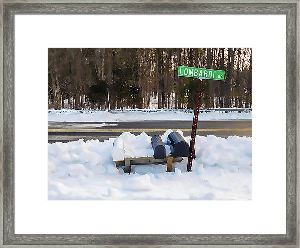 Mailboxes Covered In Snow 2 Framed Print