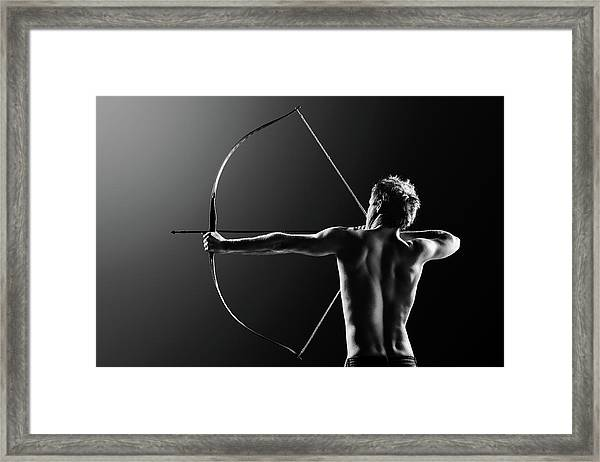 Male Archer Drawing Long Bow Framed Print