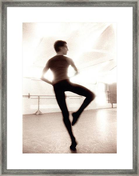 Male Ballet Dancer Practicing In Dance Framed Print by Ade Groom