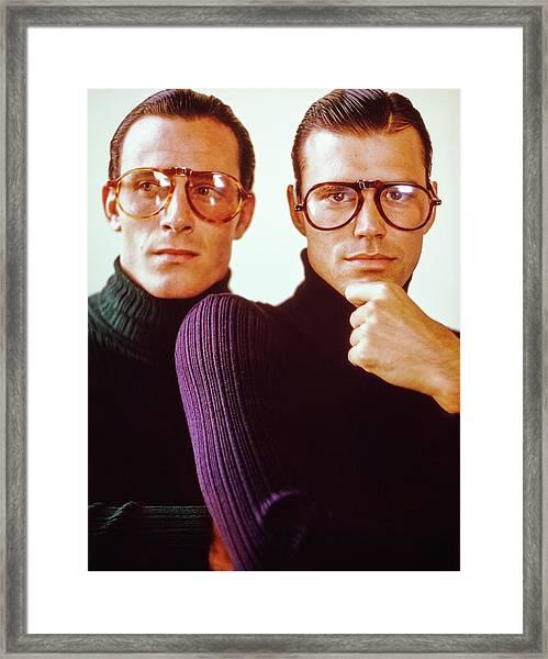 Male Models Wearing Folding Eyewear Framed Print by Barry McKinley