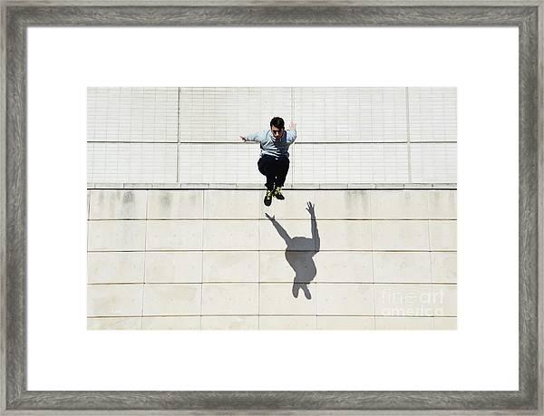 Male Tracer Free Runner Jumping Forward Framed Print