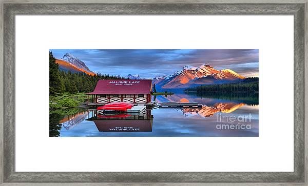 Maligne Lake Sunset Spectacular Framed Print