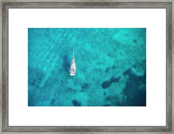 Malta. Aerial View Of A Boat Framed Print