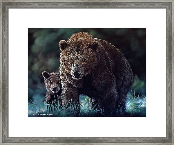 Mama Brown With Cubs Framed Print