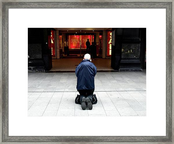 Man, Begging Framed Print