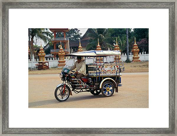 Man Driving Motorcycle-converted Taxi Framed Print