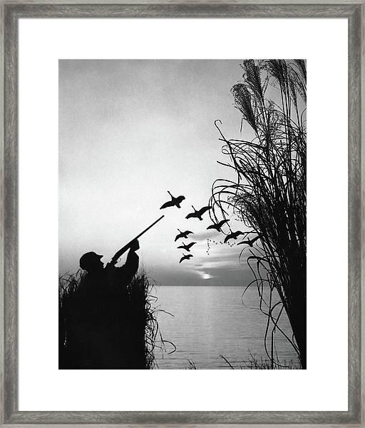 Man Duck-hunting Framed Print