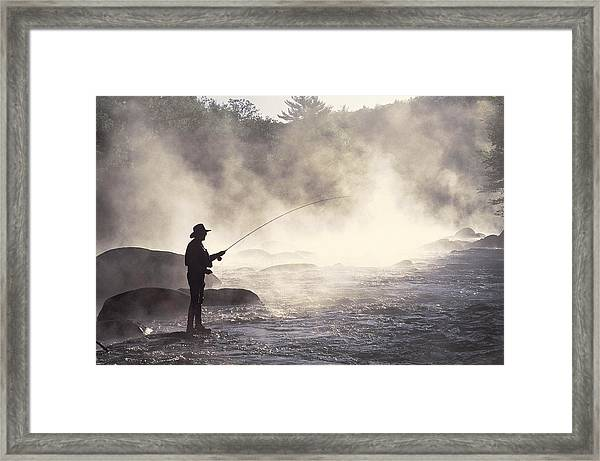 Man Fly-fishing In Contoocook River Framed Print by David White