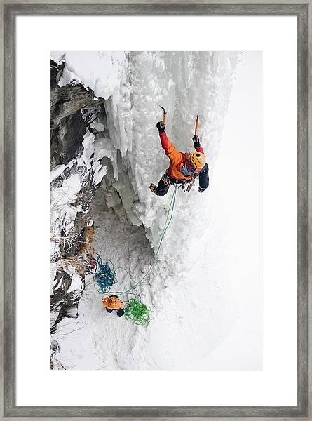 Man Ice Climbing, Raiden, Hokkaido Framed Print
