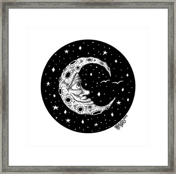 Man In The Moon Drawing Framed Print by Rick Frausto