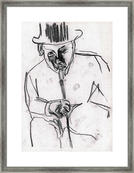 Man In Top Hat And Cane Framed Print