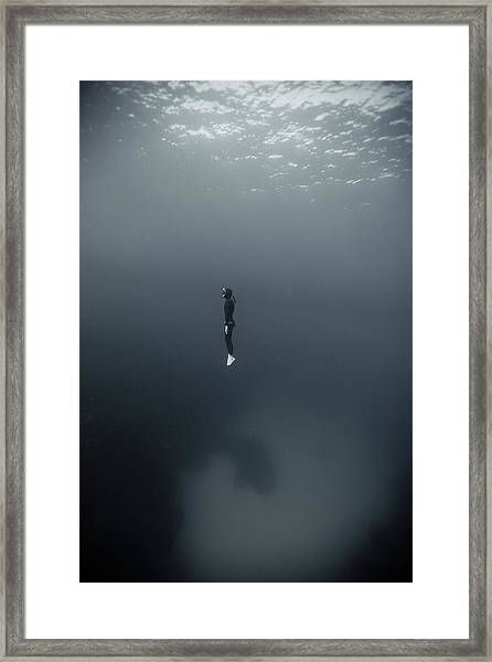 Man In Underwater Framed Print
