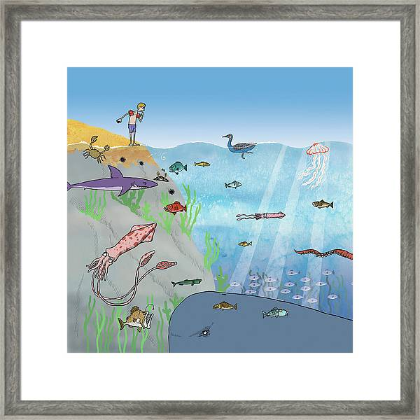 Man Nervous Of Swimming In Sea Full Framed Print by Ikon Images