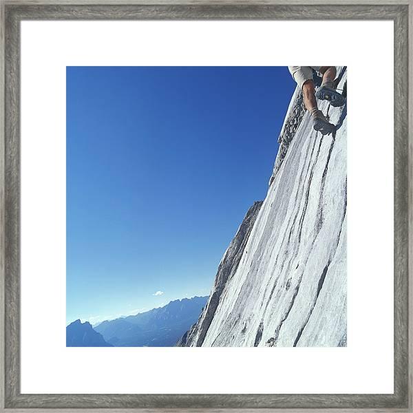 Man Rock Climbing, Low Section Framed Print