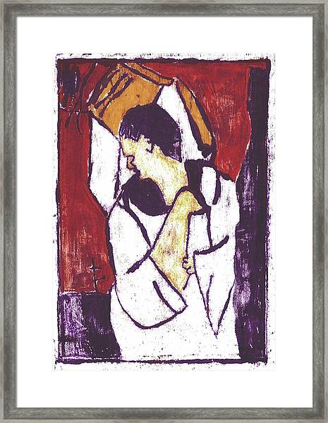 Man Sat On A Village Wall 3 Framed Print