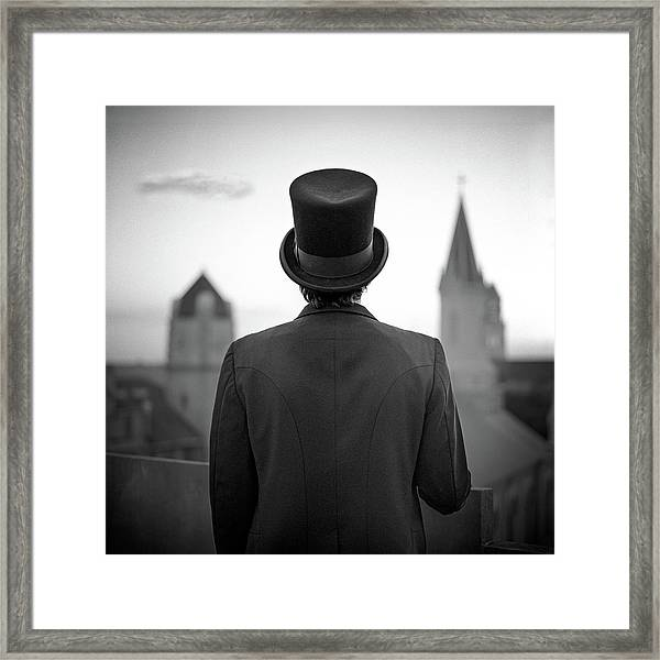 Man Standing Front Of Cathedral Framed Print by Eddie O'bryan