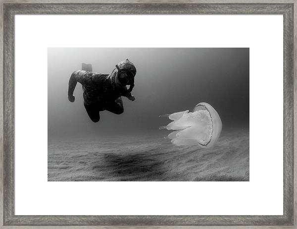 Man Underwater Framed Print
