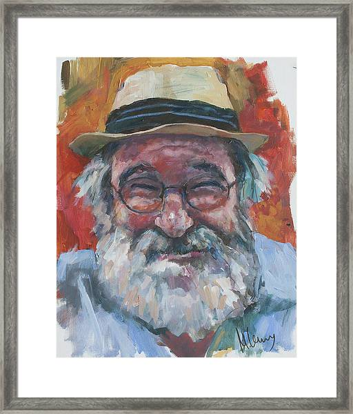 Man With Yellow Hat Framed Print