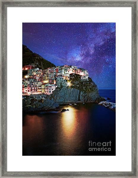Manarola By Stars Framed Print