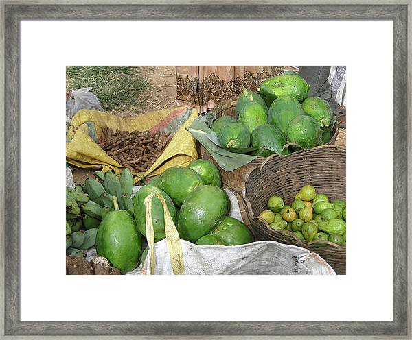Mangos, Turmeric And Green Bananas  Framed Print