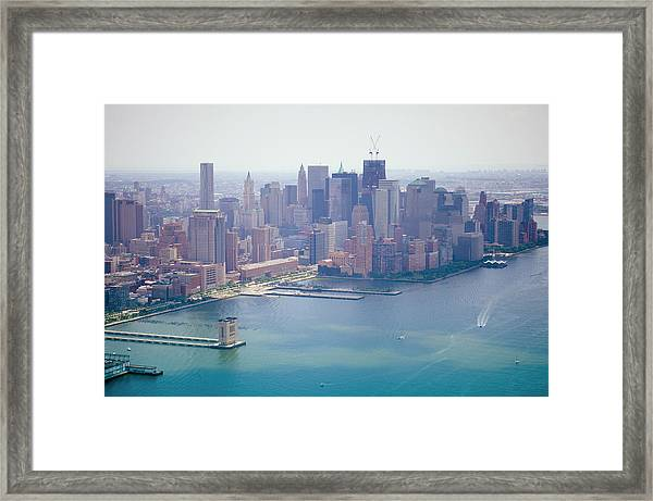 Manhattan Aerial View , Downtown From Framed Print