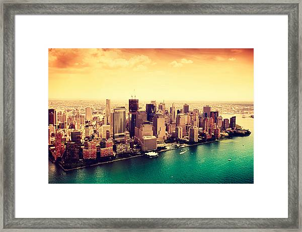 Manhattan And Ground Zero From Framed Print