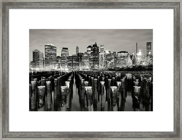 Manhattan At Night Framed Print