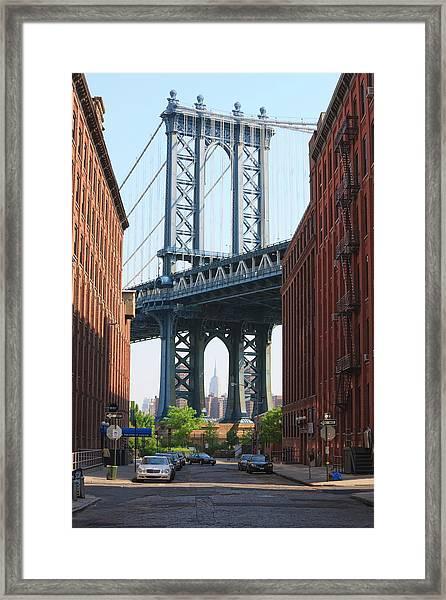 Manhattan Bridge And Empire State Framed Print