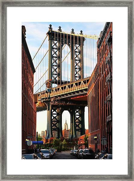 Manhattan Bridge, Brooklyn, New York Framed Print