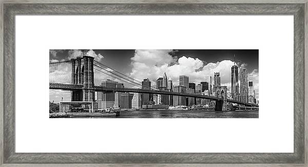 Manhattan Skyline And Brooklyn Bridge Panorama Monochrome Framed Print by Melanie Viola