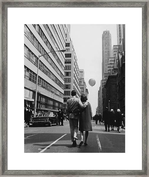 Manhattan Street Scene Framed Print