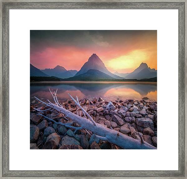 Many Glacier Sunset / Swiftcurrent Lake, Glacier National Park  Framed Print