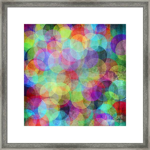 Many Vivid Color Circles On A Grunge Framed Print