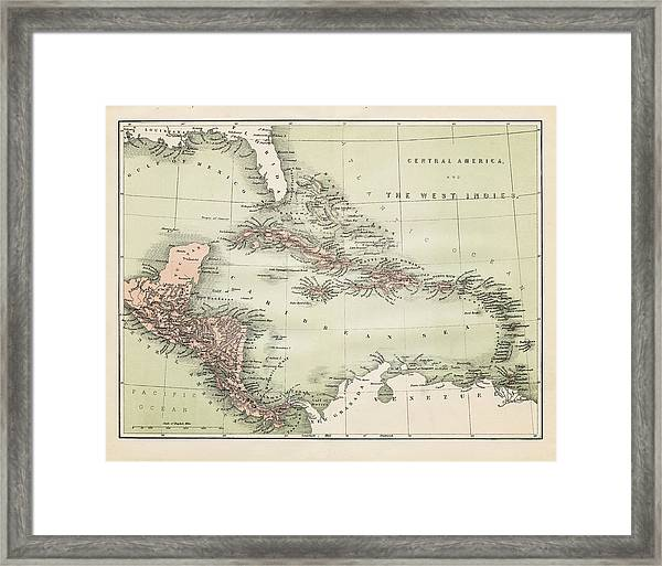 Map Od The Caribbean 1860 Framed Print