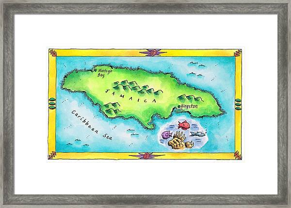 Map Of Jamaica Framed Print