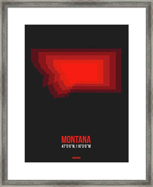 Map Of Montana Red Framed Print