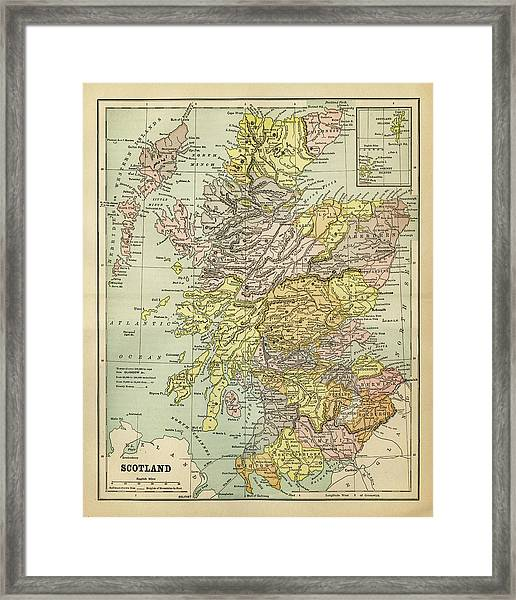 Map Of Scotland 1883 Framed Print by Thepalmer